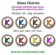 Eight Wine Glass Charms Personalized with the Initial of Your Choice
