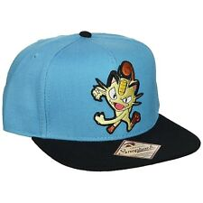 Pokemon Meowth Blue Snapback Hat NEW Clothing Cap Nintendo