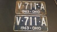 Vintage 1963 Ohio License Plate Pair Blue and White V711A