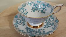 Royal Stafford Tea Cup Saucer Set Aqua Blue /White /Gold England ~Excellent!