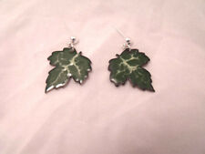 Enameled Earrings in Leaf pattern Scrafitto OOAK on sterling silver post