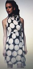 "DVF ""Charade"" Chiffon Silk Black & Cream Polka Dot Halter Neck Tie Dress 10/12"