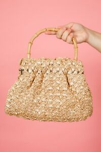 50s vintage cream & gold woven raffia bag with bamboo handle rockabilly pin-up