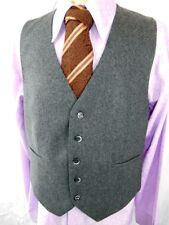Vintage 1960s 70's Grey Wool Button Up Waistcoat Formal Mod Steampunk 40 Chest