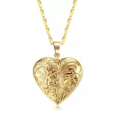 """18K Gold Plated Heart Flower Locket Photo Picture Pendant Necklace 17"""" +2"""" N93"""