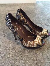 Aldo Satin Blue Khaki Cream Pattern Wooden Platform  Heels Shoes Size 5 38