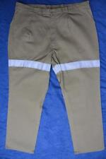 NEW CAN'T TEAR'EM Cotton Workwear Khaki Pants-HIGH VIS. STRIPES Size 107R New
