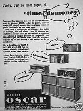 PUBLICITÉ 1954 MEUBLES OSCAR TIME IS MONEY BIBLIOTHÉQUE - ADVERTISING
