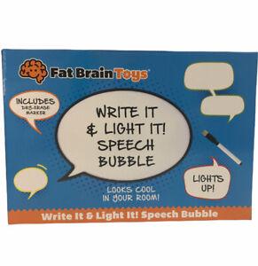 Fat Brain Toys Light Up Speech BUbble Dry Erase Message Board New 12x7