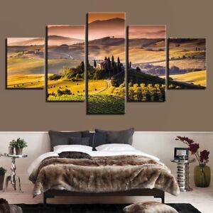 Castle Pastoral Sunset Nature Landscape 5 Panel Canvas Print Wall Art Home Decor