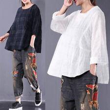 ZANZEA Women Vintage Oversize Casual Blouse Shirt Round Neck Plaid Check Tops