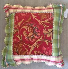 Decorative Pillow Green Pink Red Paisley Yellow Back Scallop Edges Piping Trim