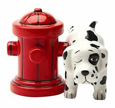 Dalmatian Dog with Fire Hydrant Ceramic Magnetic Salt & Pepper