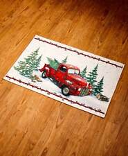 Vintage Style Kitchen Rug Carpet Red Pickup Truck Christmas Tree Farmhouse Decor