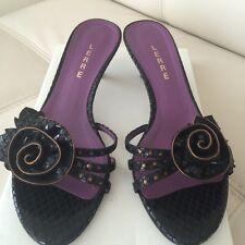 LERRE Women's Low Heel  Black Leather Sandals ( Italy) size 37