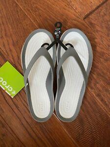 Crocs Women's 9 W9 Swiftwater Flip Flops Smoke Grey