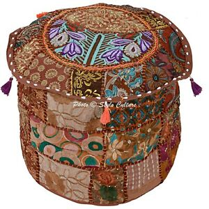 Bohemian Ottoman Pouffe Cover Brown Cotton Patchwork Embroidered Round 22 Inch