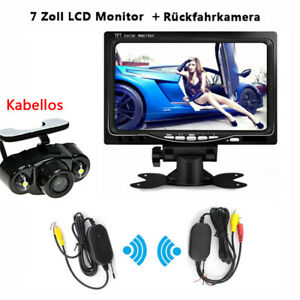 "Kabellos Rückfahrkamera Video Funk Nachtsicht 7"" Monitor Drahtlos LKW Wohnmobil"