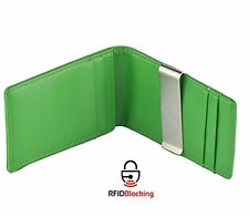 RFID Money Clipper Slim Smart Small Front Pocket Wallet Card Case Holder (GREEN)