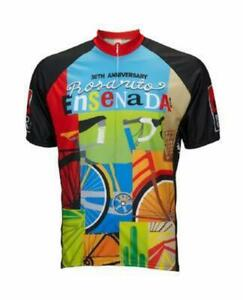 World Jerseys Rosarito Bicicleta Mens Cycling Jersey Red/Blue/Green/Tan X-Large