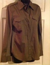 Pure DKNY Womens Olive Green Cotton Long Sleeves Snap Down Shirt M