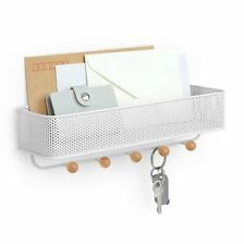 Umbra ESTIQUE 5 Key Hook WALL ORGANISER Storage Caddy WHITE
