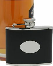 4 oz Black Leather Pocket Alcohol Liquor Flask With Blank Plate for Engraving