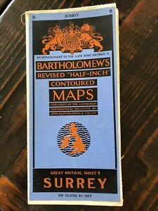 Bartholomew's Revised Half Inch Contoured Cloth Map Sheet 9 SURREY