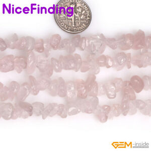Natural Stone Chips Beads Rose Quar Jewelry Making Necklace Bacelet Freeform 34""