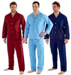 Mens Plain Traditional Woven Pyjamas Set Sleeping Nightwear Pjs M-XXL