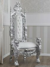 Trono Lion stile Barocco Moderno poltrona reale foglia argento ecopelle bianca p