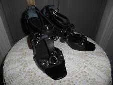 NINE WEST* Black Leather HEELS Strappy SHOES Sandal Womens SZ- 6