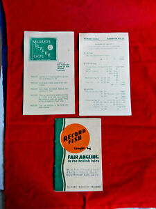 VINTAGE MILWARD'S RECORD FISH BOOKLET AND OTHER FISHING ADVERTISING SHEETS