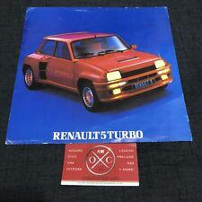 Vintage Renault 5 Turbo Brochure Catalog Prospekt Rare 80-86 81 82 83 84 85 R5