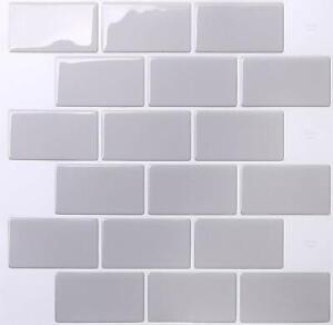 Tic Tac Tiles_3D Peel and Stick_Wall Tile_Subway Gray_30cm x 30cm x 10 sheets