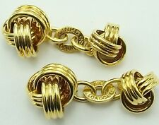 Links of London 18 carat solid yellow gold cuff links. Weight 20.9 grams.