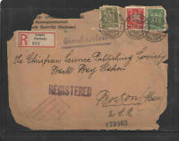 1926 REGISTERED COVER GERMANY TO USA SEBNITZ SACHSEN No 061 - FRONT ONLY