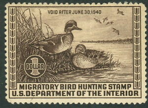 1939 US Federal Duck Stamp #RW6 Mint Never Hinged F/VF Creased