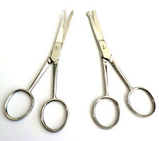 """2 Pairs 3.5"""" Straight + Curved Mustache Nose Hair Scissors Trimmer w Safety Tips"""