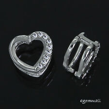 Sterling Silver CZ Heart Pinch Bail Pendant Clasp Slider 1pc #97128