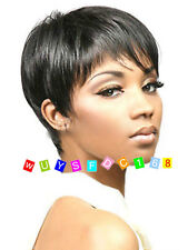 Black Synthetic Straight Hair Wigs Attractive Short Wigs + Free wig cap