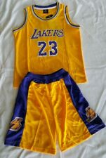 Lebron James 23 LA Lakers Kids Basketball Jersey Shorts Set- Yellow