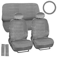 9 Piece High Back Car Seat Covers - Regal Velour Fabric Dotted Tweed - Gray
