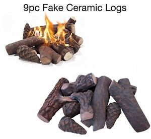 9pc ceramic fake logs gas fire pit / gas fire ethanol propane Indoors / Outdoors