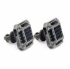 Mens Black Finished 12mm Micro Pave Square Lab Cz Screw Back Stud Earrings 2
