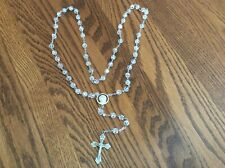 "Vtg Sterling Silver Crystal Faceted Beads Catholic Rosary - 24"" - Signed"