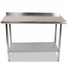 "STAINLESS STEEL COMMERCIAL CATERING HOME KITCHEN 48x24"" SPLASHBACK TABLE BENCH"