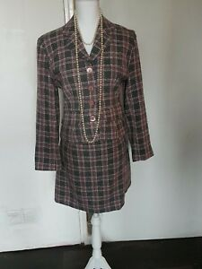 Tweed 2 piece suit jacket size 10 skirt size 12 pink grey colour! 46% wool