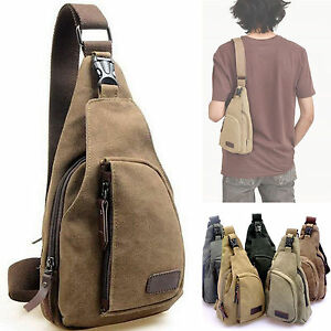 New Men's Canvas Shoulder Bag Travel Military Satchel Chest Pack Handbag Casual