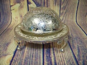 Vintage Silver Plate Domed Flip Lidded Footed Butter/Caviar Serving Bowl